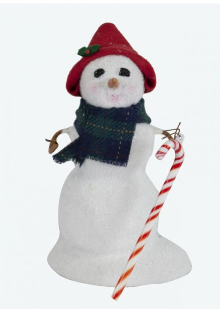 Byers Choice Caroler - Small Snowman with Candy Cane 2019