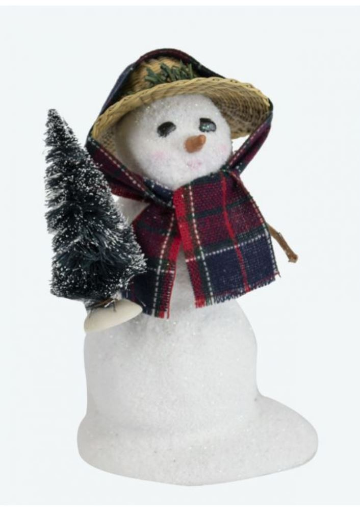 Byers Choice Caroler - Small Snowman with Straw Hat 2019