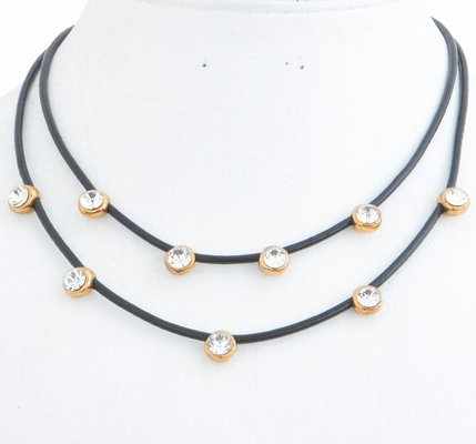 C.T. Hill Designs - Antique Gold and Crystal Double Black Leather Cord Necklace