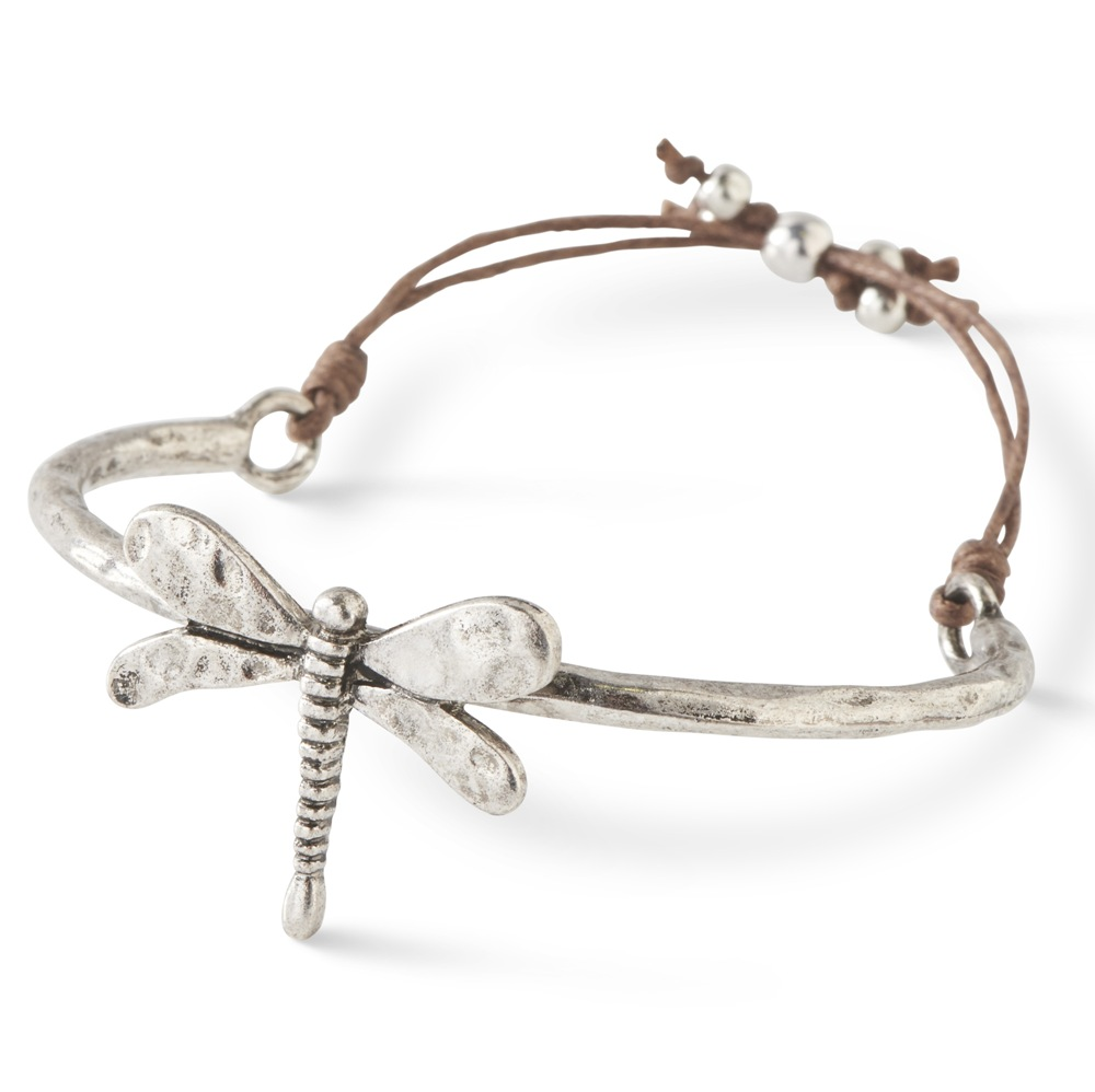 C.T. Hill Designs - Antique Silver and Brown Cord Adjustable Dragonfly Cuff Bracelet