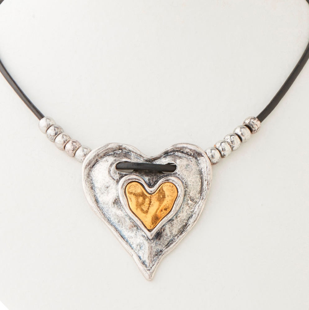 C.T. Hill Designs - Antique Silver and Gold Heart on Black Leather Cord Necklace
