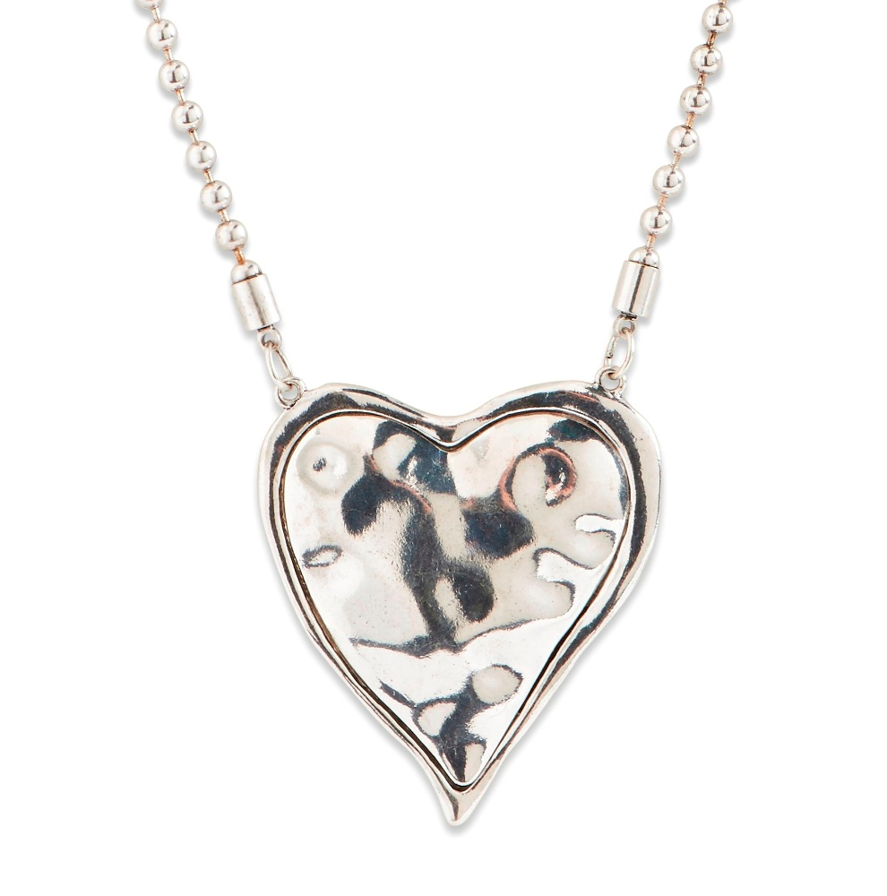 C.T. Hill Designs - Antique Silver Ball Chain with Hammered Puff Heart Necklace