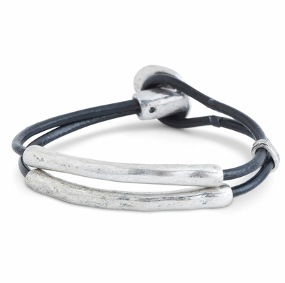 C.T. Hill Designs - Antique Silver Double Strand Leather Toggle Bracelet