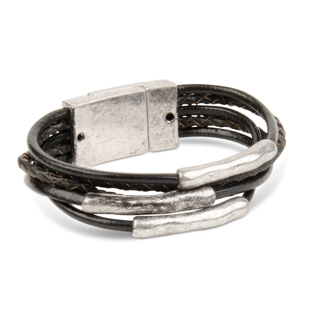 C.T. Hill Designs - Antique Silver Five Strand Black Leather Cord Magnetic Bracelet