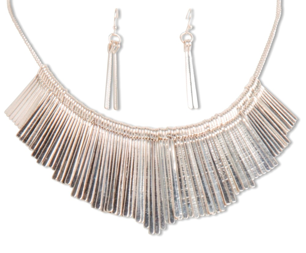 C.T. Hill Designs - Antique Silver Textured Drop Earrings Necklace Set