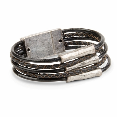 C.T. Hill Designs - Antique Silver Tube 5 Strand Black Leather Cord Magnetic Bracelet