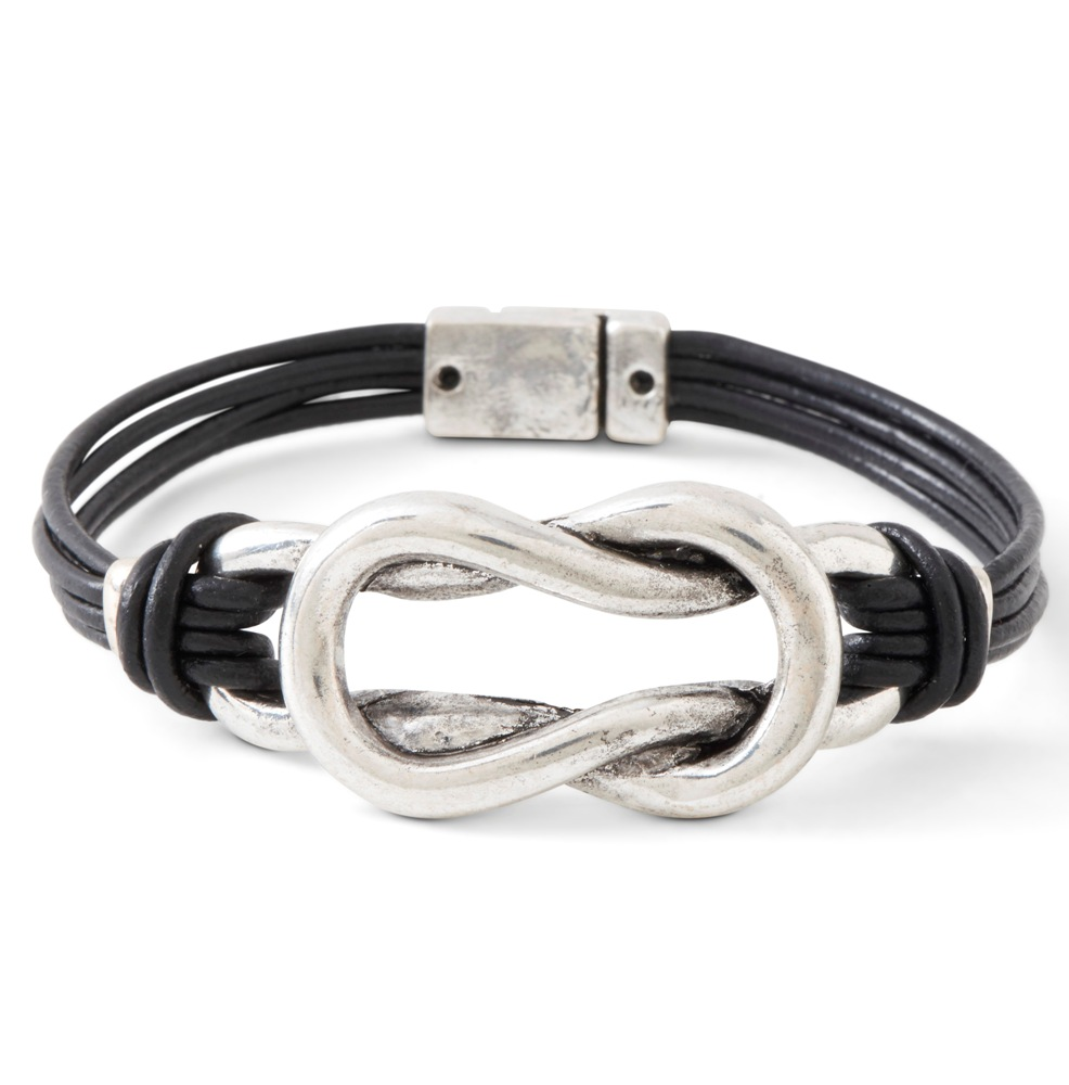 C.T. Hill Designs - Black Leather Cord 3 Strand and Silver Magnetic Clasp Bracelet