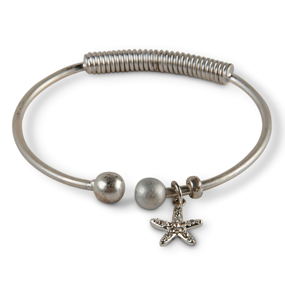 C.T. Hill Designs - Crystal Starfish Silver Hinged Bracelet