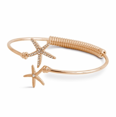 C.T. Hill Designs - Gold and Crystal Spring Flex Starfish Bangle Bracelet