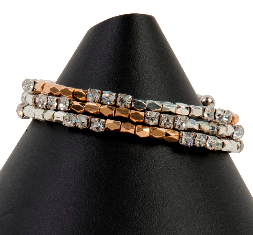 C.T. Hill Designs - Gold and Silver Crystal Memory Wire Bracelet
