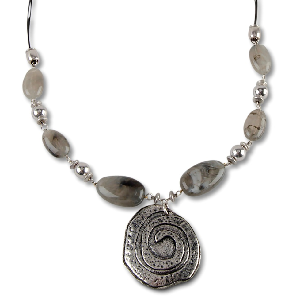 C.T. Hill Designs - Grey Silver Beads With Round Disc Pendant on Leather Chain Necklace