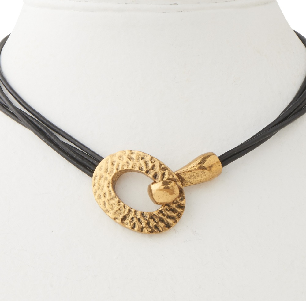 C.T. Hill Designs - Hammered Antique Gold 4 Strand Black Leather Cord Necklace