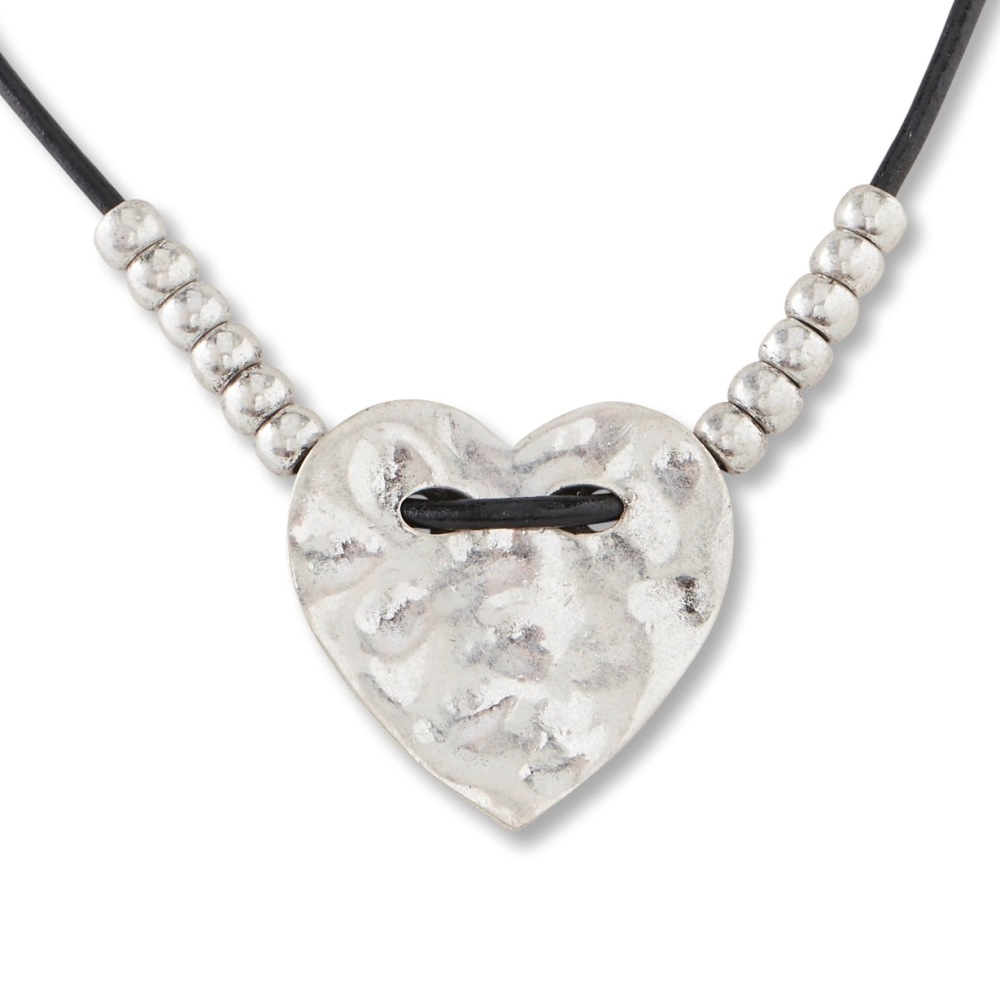 C.T. Hill Designs - Hammered Antique Silver Heart on Black Leather Cord Necklace