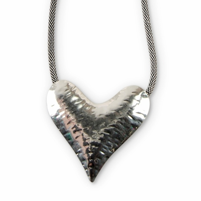 C.T. Hill Designs - Hammered Antique Silver Heart on Mesh Chain Necklace