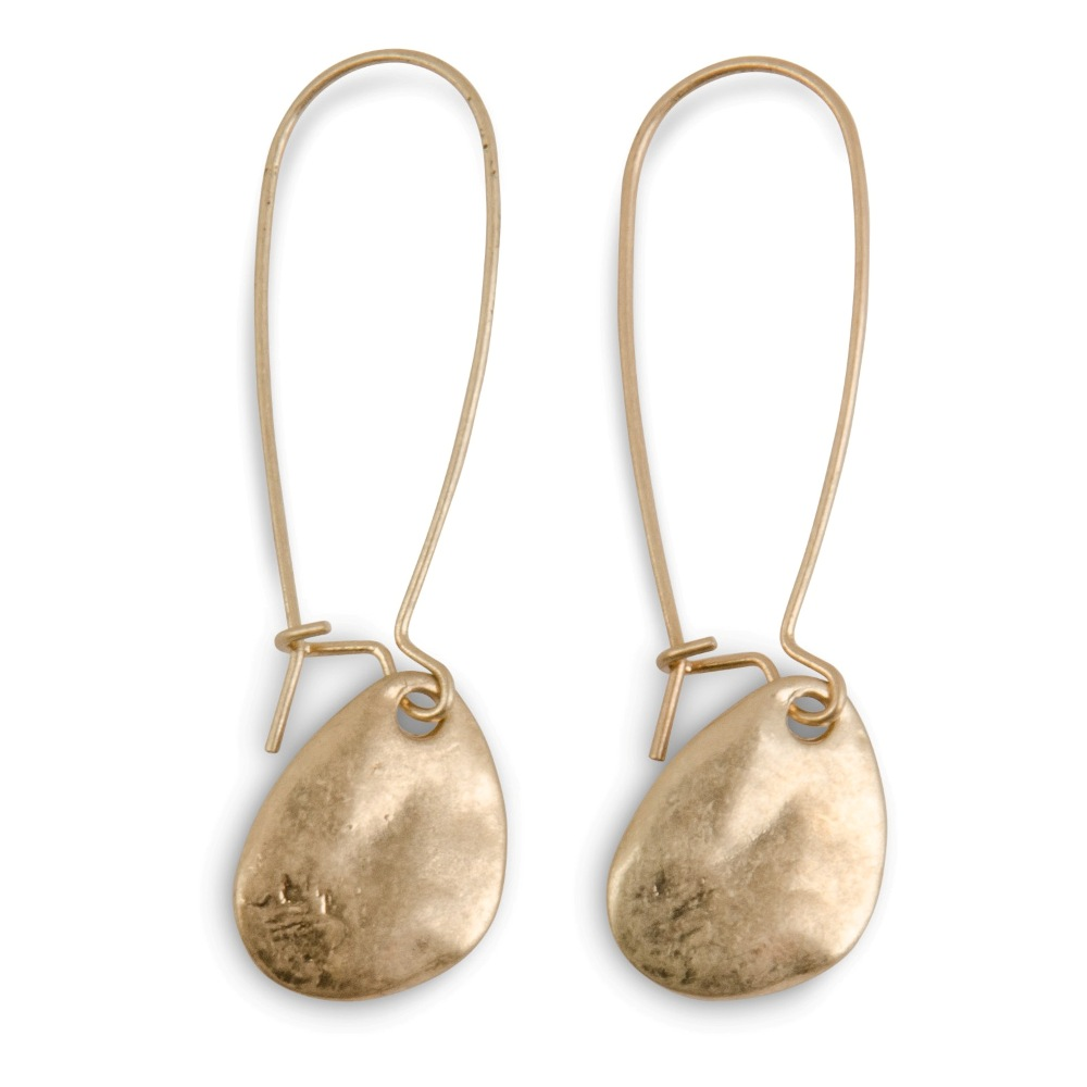 C.T. Hill Designs - Hammered Gold Teardrop Disc Earrings