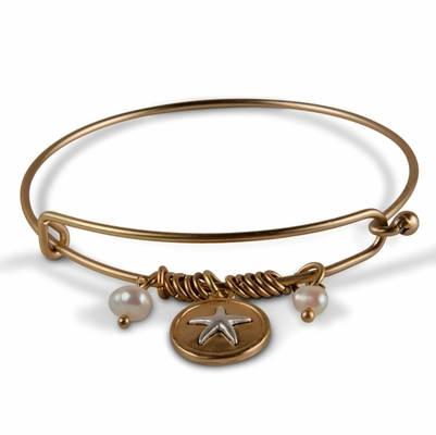 C.T. Hill Designs - Hooked Gold Bracelet With Pearls and Starfish