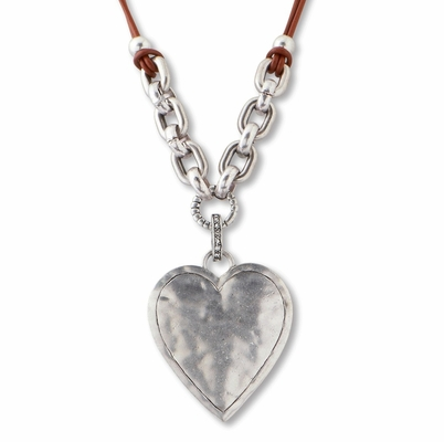 C.T. Hill Designs - Leather and Silver Heart Necklace