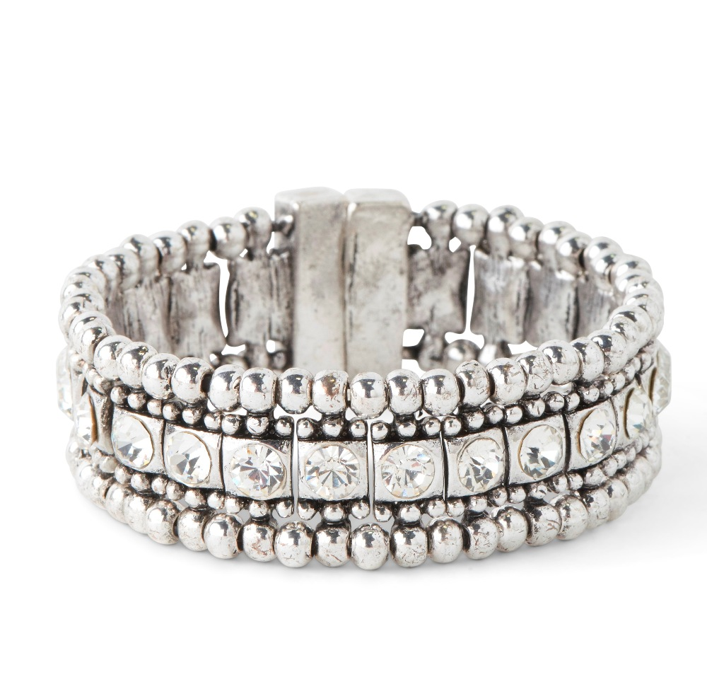 C.T. Hill Designs - Magnetic Silver and Crystal Cuff Bracelet