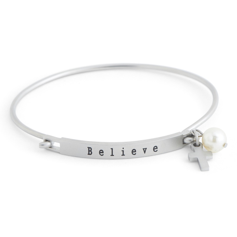 C.T. Hill Designs - Matte Stainless Steel Believe Hook Bangle Bracelet With Cross Pearl Drop