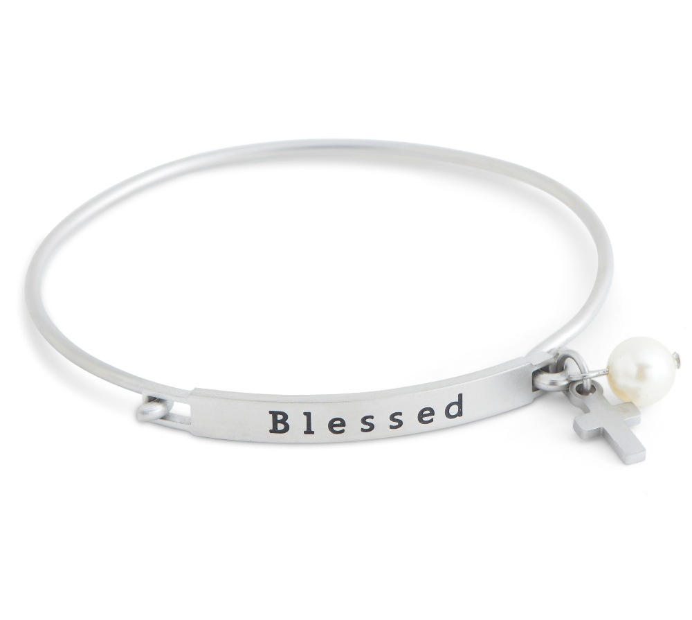 C.T. Hill Designs - Matte Stainless Steel Blessed Hook Bangle Bracelet With Cross Pearl Drop