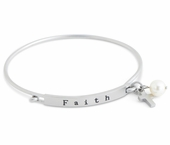 C.T. Hill Designs - Matte Stainless Steel Faith Hook Bangle Bracelet With Cross Pearl Drop