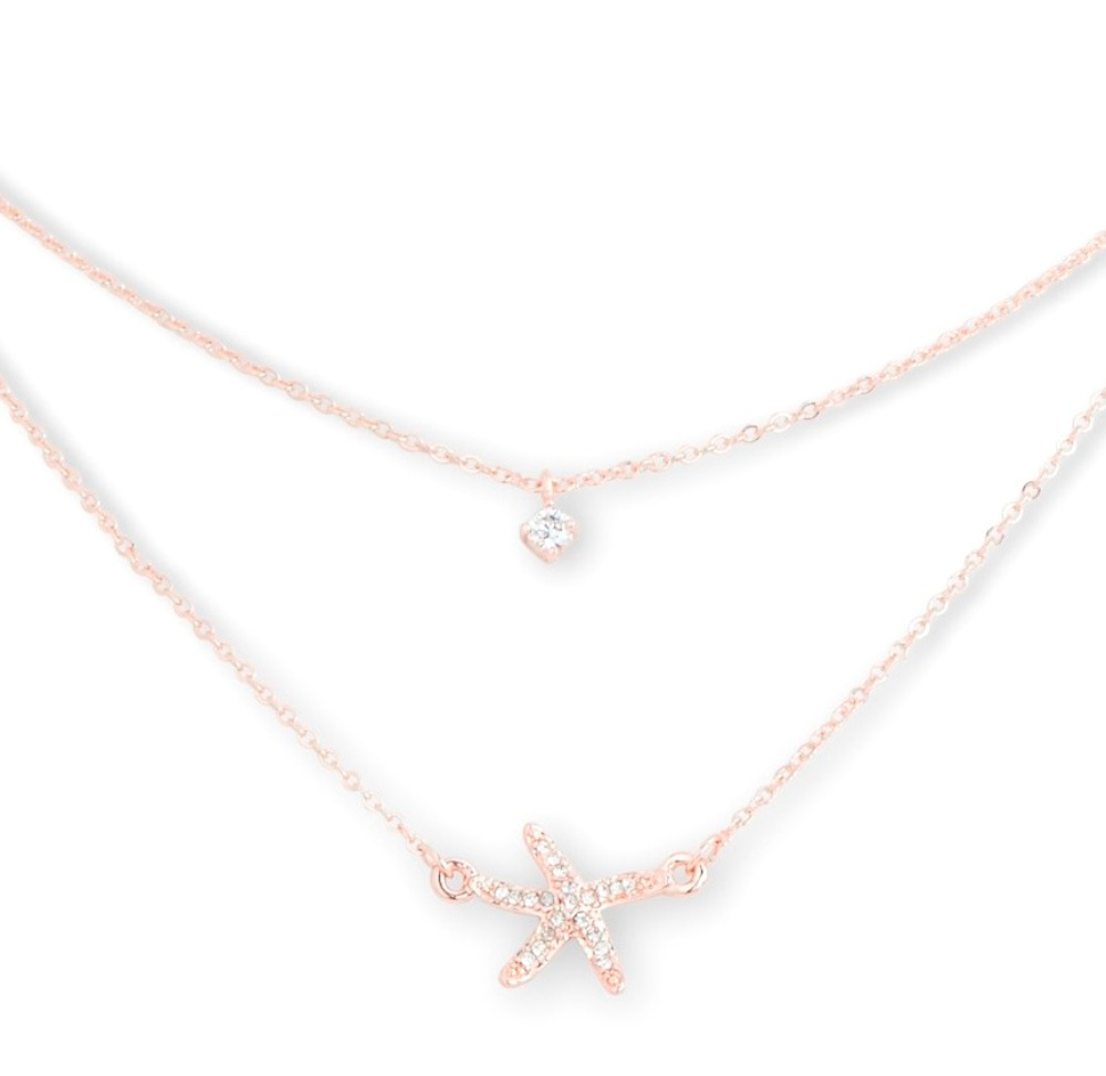 C.T. Hill Designs - Rose Gold and Crystal Double Strand Starfish Necklace