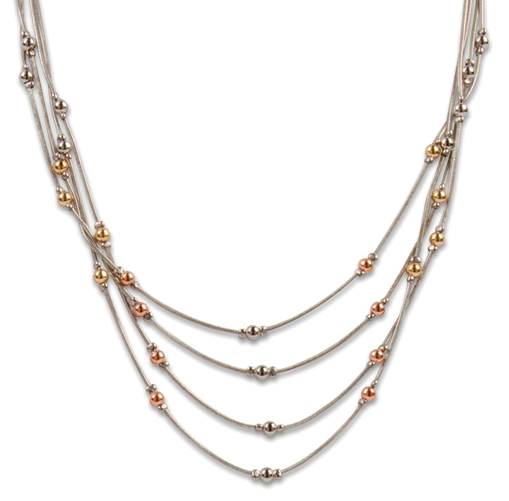C.T. Hill Designs - Silver 4 Chain Necklace with Multi Color Mini Balls