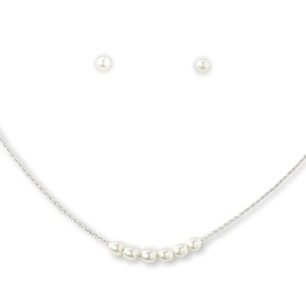 C.T. Hill Designs - Silver 6 Pearl Earrings Necklace Set