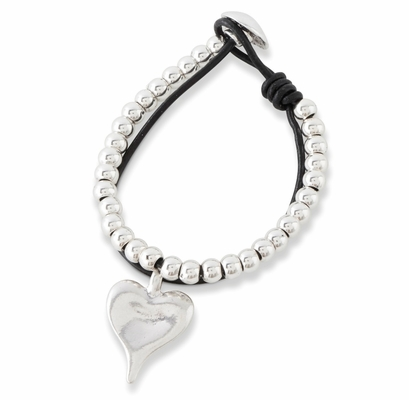 C.T. Hill Designs - Silver and Black Leather Toggle Bracelet with Heart Drop