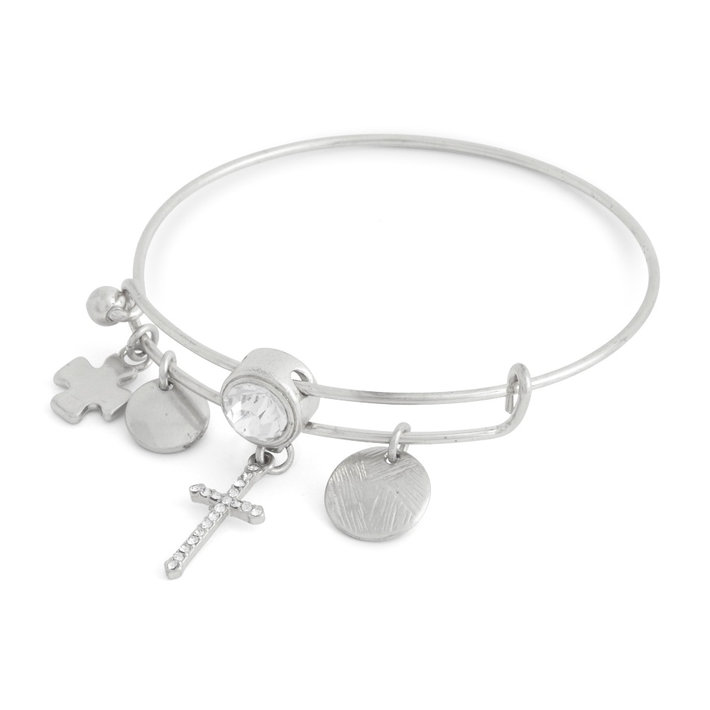 C.T. Hill Designs - Silver and Crystal Cross Chain Sliding Bangle Bracelet