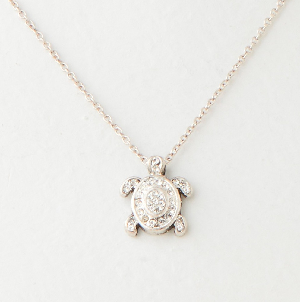 C.T. Hill Designs - Silver and Crystal Sea Turtle Necklace
