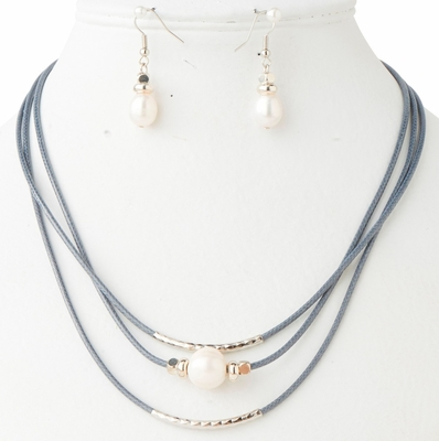 C.T. Hill Designs - Silver and Grey 3 Strand Natural Pearl Necklace Earrings Set