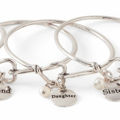 C.T. Hill Designs - Silver Daughter Bangle Bracelet with Pearl
