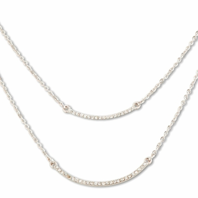 C.T. Hill Designs - Silver Double Chain Curved Bar Necklace with Crystal Accents