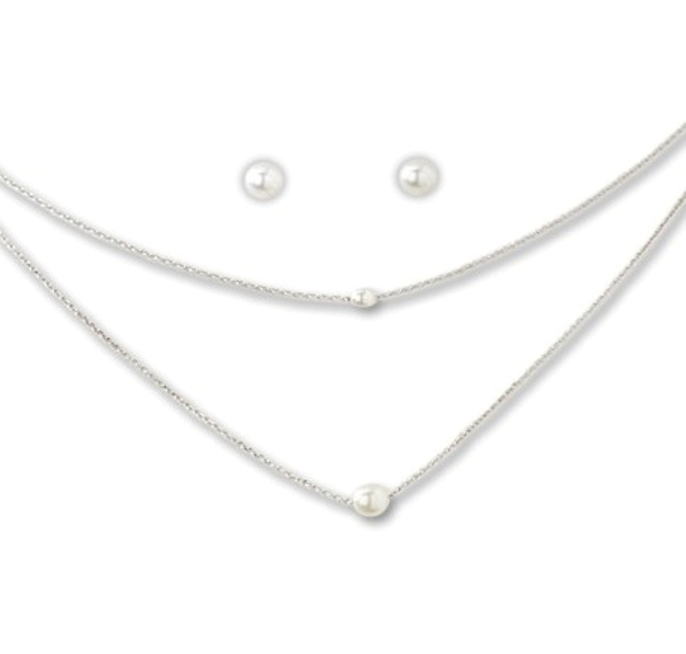 C.T. Hill Designs - Silver Double Strand Pearl Earrings Necklace Set