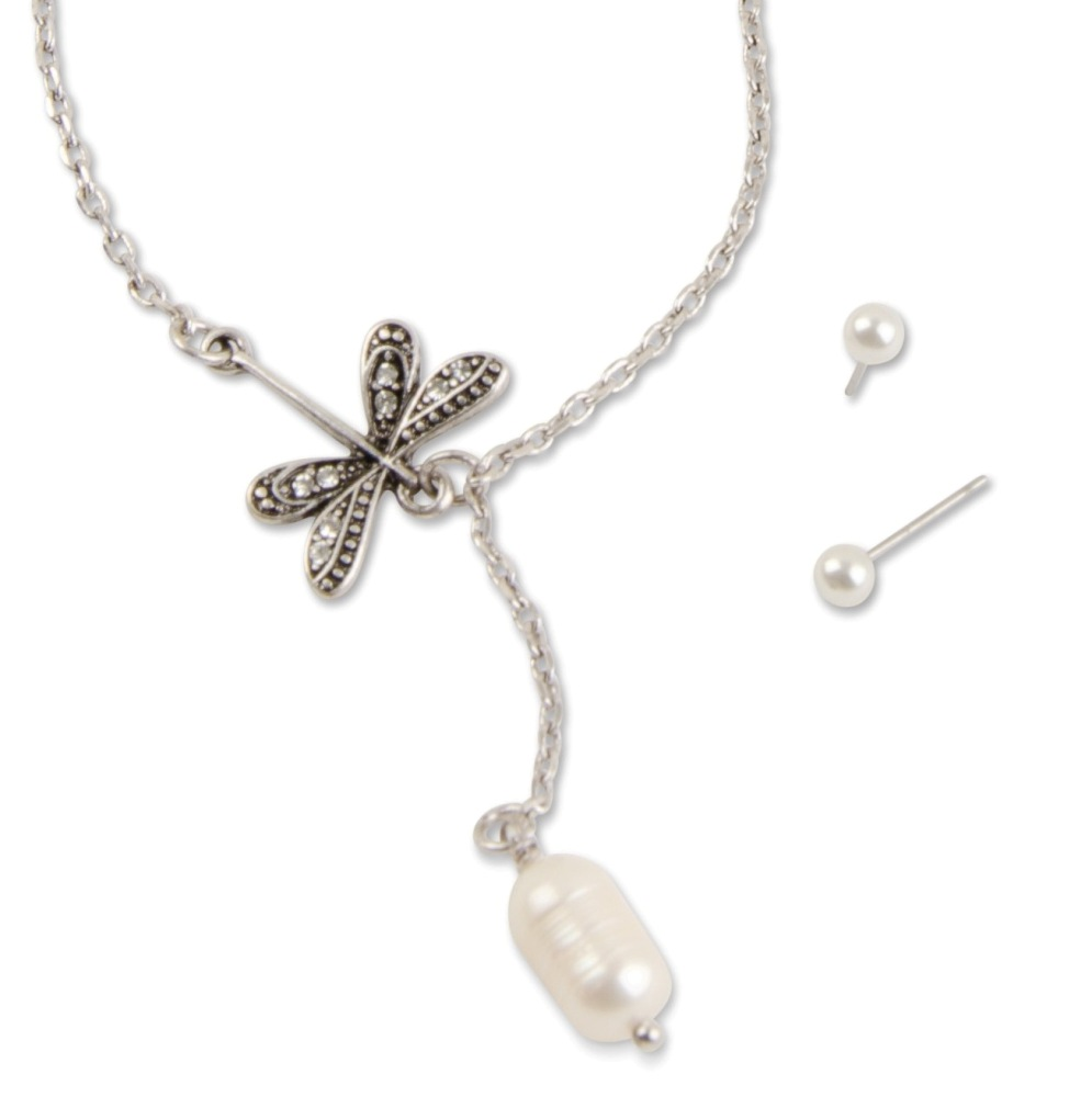 C.T. Hill Designs - Silver Dragonfly With Fresh Water Pearl Necklace