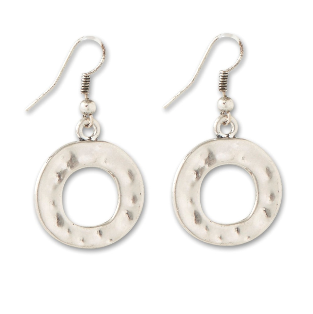 C.T. Hill Designs - Silver Hammered Circle Earrings
