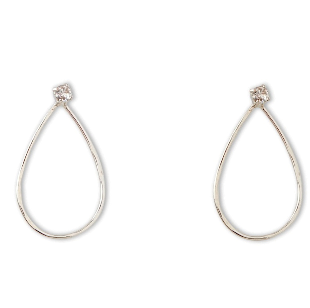 C.T. Hill Designs - Silver Hammered Teardrop Stud Earring with Crystal Accent