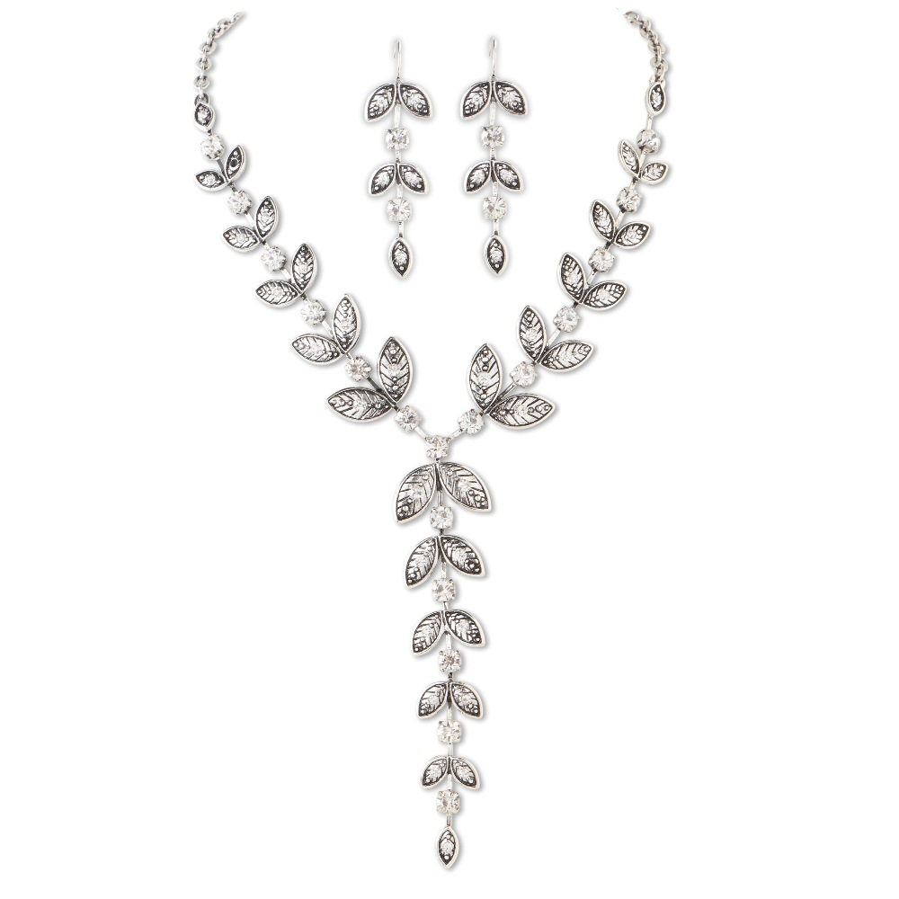 C.T. Hill Designs - Silver Leaf and Crystal Y Necklace Earrings Set
