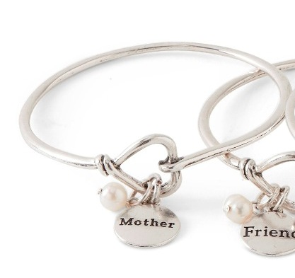 C.T. Hill Designs - Silver Mother Bangle Bracelet with Pearl