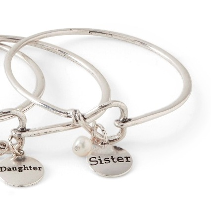 C.T. Hill Designs - Silver Sister Bangle Bracelet with Pearl