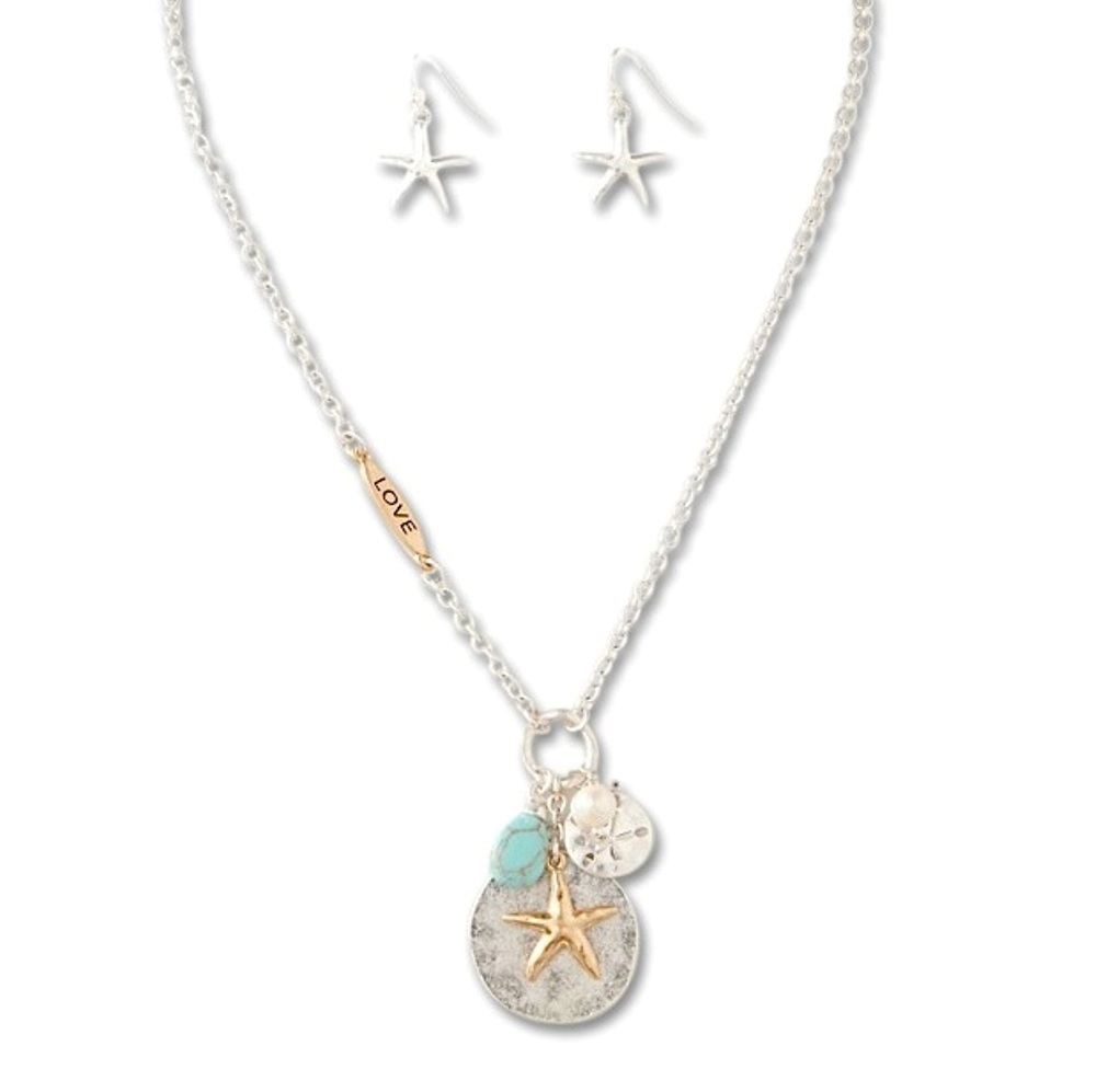 C.T. Hill Designs - Silver With Pearl, Sand Dollar, Starfish and Turquoise Accent Earrings Necklace Set