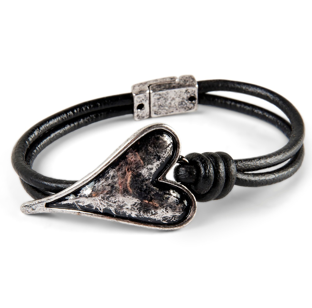 C.T. Hill Designs - Stylized Silver Heart and Black Leather Cord  Magnetic Bracelet
