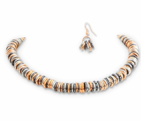 C.T. Hill Designs - Tri-Tone Rings on Cord Necklace Earrings Set
