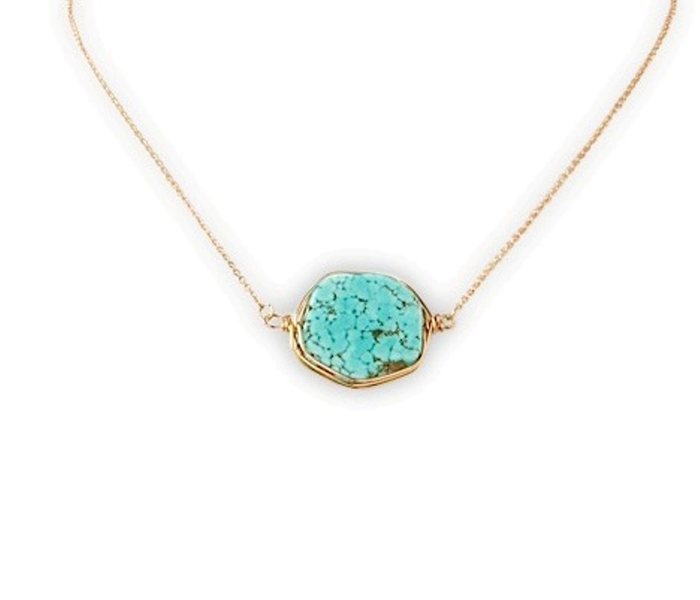 C.T. Hill Designs - Turquoise Stone and Gold Chain Necklace