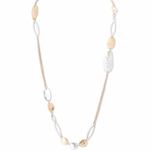 C.T. Hill Designs - Worn Hammered Silver and Gold Disc Necklace With Double Chain