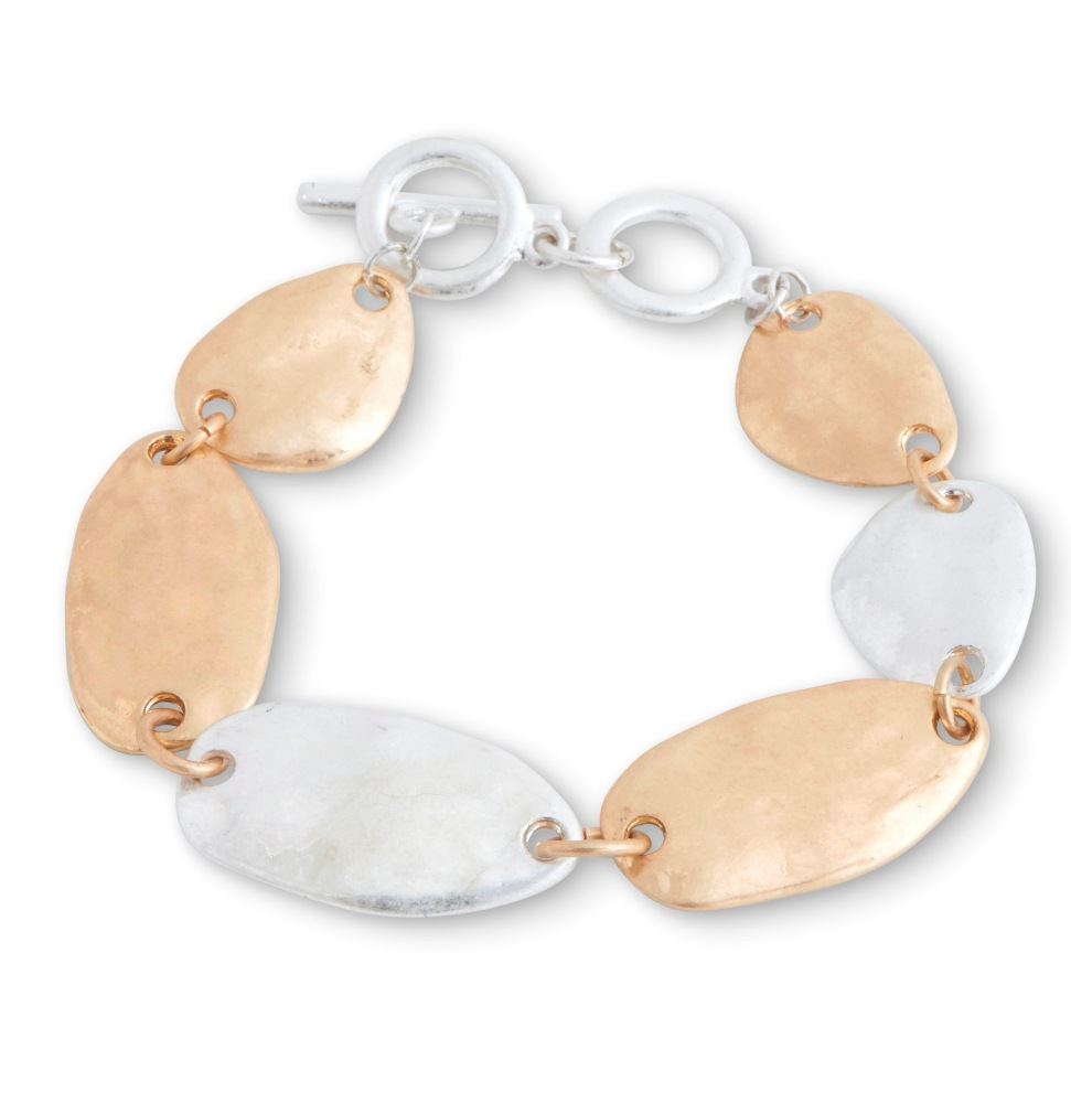 C.T. Hill Designs - Worn Hammered Silver and Gold Disc Toggle Bracelet