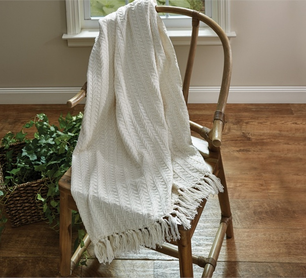 Cable Throw Blanket - Cream - 50in x 60in