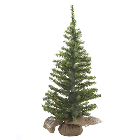 Canadian Fir Twig Tree - Table Top - Burlap Base - 24in