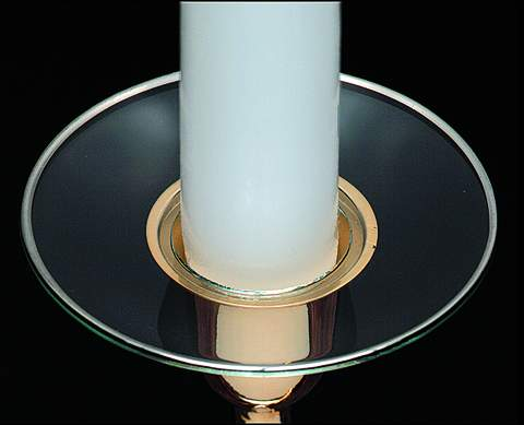 Candle Bobeche - Plain Glass Bobeche with Platinum Trim""